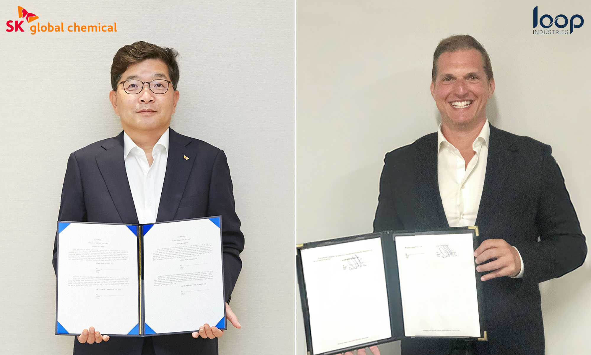 CEO of SK Global Chemical Na Kyung-soo (left) and CEO/Founder of Loop Industries Daniel Solomita (right) sign the strategic investment agreement between the two companies. (SK Group)