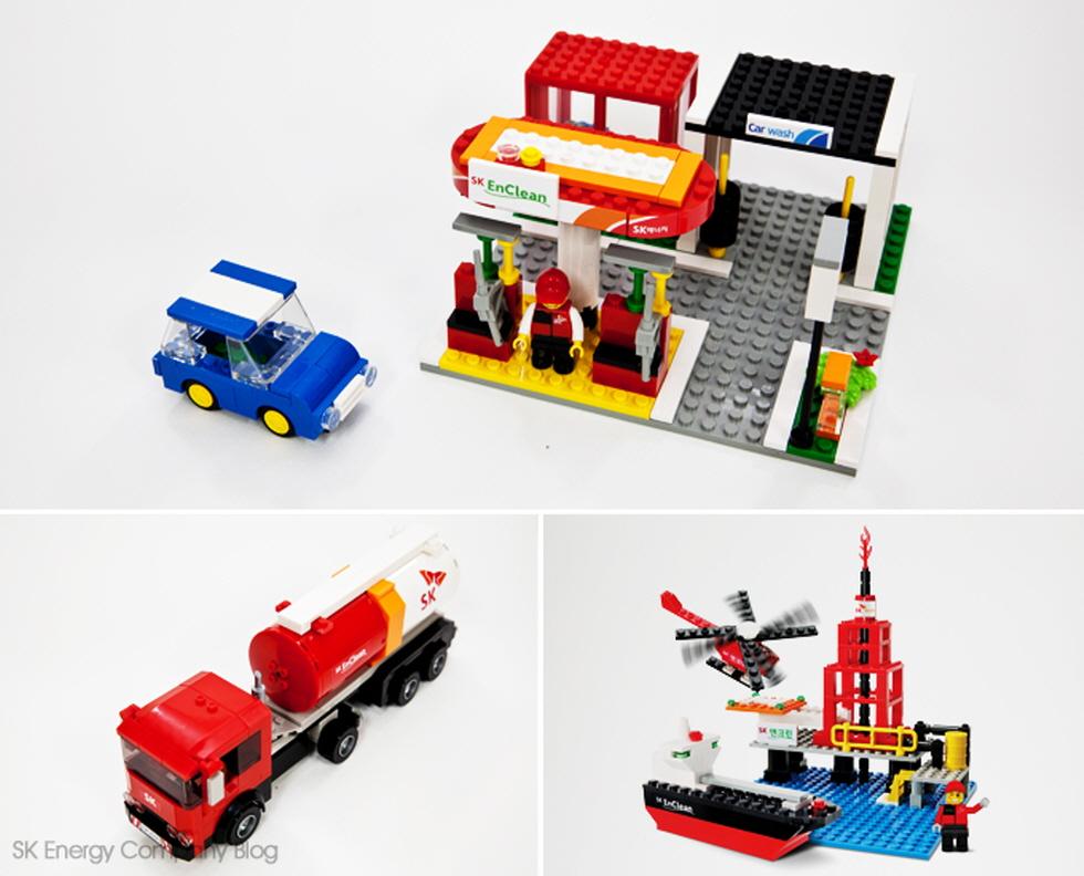 ▲SK엔크린 블록 장난감 주유소(위), 유조차(왼쪽), 원유시추선(오른쪽)