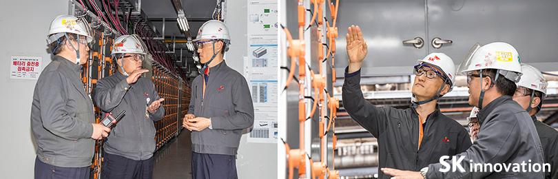 ESS설비 현장을 방문한 SK에너지 조경목 사장