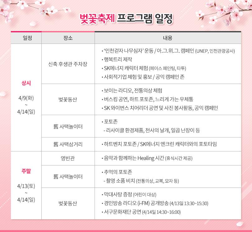 2019 행복나눔 벚꽃축제 프로그램 일정
